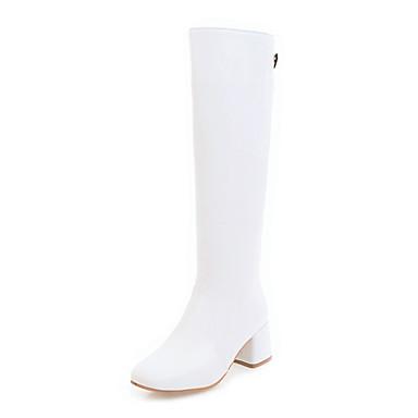 povoljno Ženske čizme-Žene Čizme Kockasta potpetica Okrugli Toe Umjetna koža Čizme do koljena Modne čizme Jesen / Zima Obala / Zabava i večer / EU37