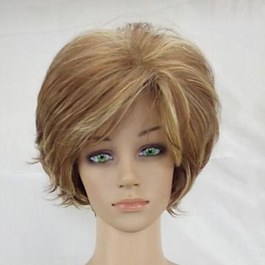 פאות סינתטיות מתולתל בלונד תספורת שכבות שיער סינטטי בלונד פאה קצר ללא מכסה בלונד