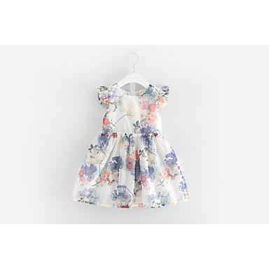 baratos Vestidos para Meninas-Bébé Para Meninas Activo Diário Para Noite Floral Manga Curta Vestido Branco / Algodão / Fofo