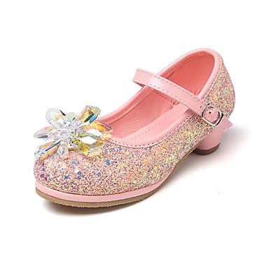 בנות נעליים PU אביב נוחות / חדשני / נעליים לילדת הפרחים שטוחות קריסטל / אבזם ל כסף / כחול / ורוד / חתונה / מסיבה וערב