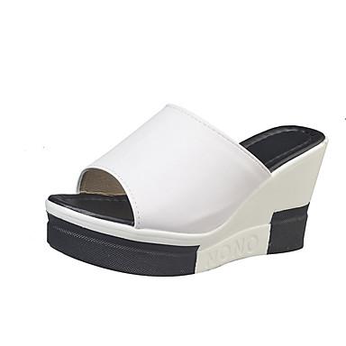 Damen Schuhe PU Sommer Leuchtende Sohlen Slippers & Flip-Flops Walking Creepers Offene Spitze Tierdruck für Normal Weiß Schwarz