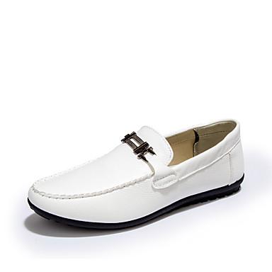 בגדי ריקוד גברים מוקסין PU אביב / סתיו נעליים ללא שרוכים לבן / שחור / חום