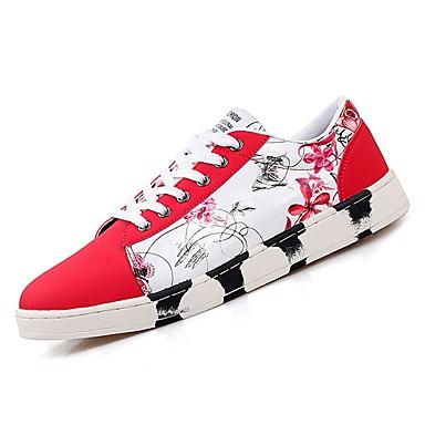 נעליים PU סתיו נוחות נעלי ספורט ל קזו'אל שחור אדום כחול שחור לבן