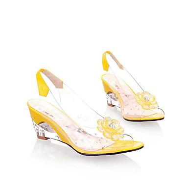 בגדי ריקוד נשים נעליים ג'ל סיליקה קיץ נוחות סנדלים עקב טריז בוהן עגולה קריסטל לבן / צהוב / אדום