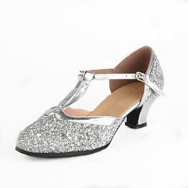 baratos Shall We® Sapatos de Dança-Mulheres Paetês Sapatos de Dança Moderna Recortes / Lantejoula Salto Salto Personalizado Personalizável Dourado / Prata / EU40