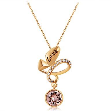 בגדי ריקוד נשים יהלום סינתטי שרשראות תליון - ציפוי זהב, יהלום מדומה קלסי חמוד זהב שרשראות תכשיטים עבור Party, רשמי
