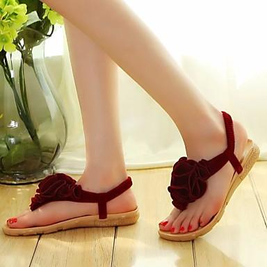 בגדי ריקוד נשים נעליים PU אביב / סתיו נוחות סנדלים עקב נמוך שחור / בז' / Wine
