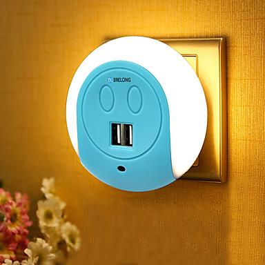 1pc Wall Plug Nightlight Bedside with USB Port AC Powered