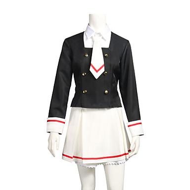 קיבל השראה מ Cardcaptor Sakura Sakura אנימה תחפושות קוספליי חליפות קוספליי שחור ולבן שרוול ארוך עליון חצאית צווארון גרביים עבור בגדי