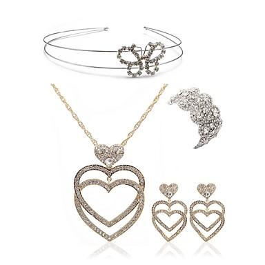 בגדי ריקוד נשים סט תכשיטים - יהלום מדומה לב, פרפר ארופאי, אופנתי לִכלוֹל לבוש ראש / סטי תכשיטי כלה לבן עבור חתונה / Party