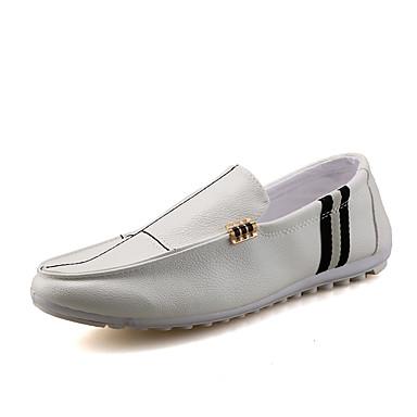 Homens sapatos Couro Ecológico Primavera / Outono Mocassim Mocassins e Slip-Ons Caminhada Branco / Preto / Laranja