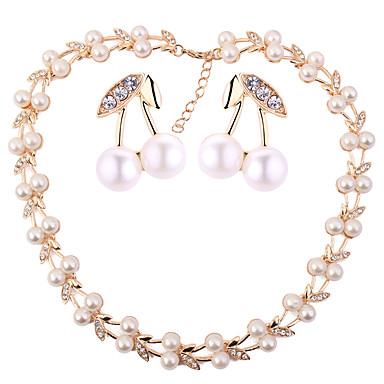 בגדי ריקוד נשים סט תכשיטים - דמוי פנינה דובדבן, פרי ארופאי, אופנתי לִכלוֹל זהב עבור חתונה Party / עגילים