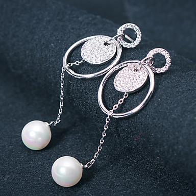 בגדי ריקוד נשים עגילים צמודים / טבעות חישוקים - דמוי פנינה, אבן נוצצת כסף עבור חתונה / Party