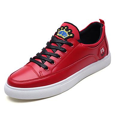 בגדי ריקוד גברים נעליים PU סתיו נוחות נעלי ספורט לבן / שחור / אדום