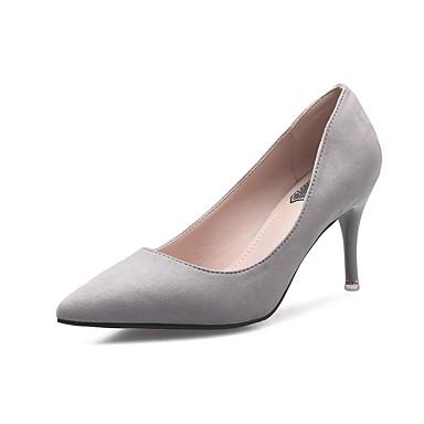 בגדי ריקוד נשים נעליים פליז אביב / סתיו נוחות עקבים עקב סטילטו בוהן מחודדת אפור / פוקסיה / ורוד
