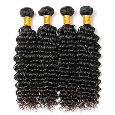 baratos Extensões de Cabelo Natural-4 pacotes Cabelo Brasileiro Onda Profunda 8A Cabelo Humano Cabelo Humano Ondulado 8-28 polegada Tramas de cabelo humano Extensões de cabelo humano
