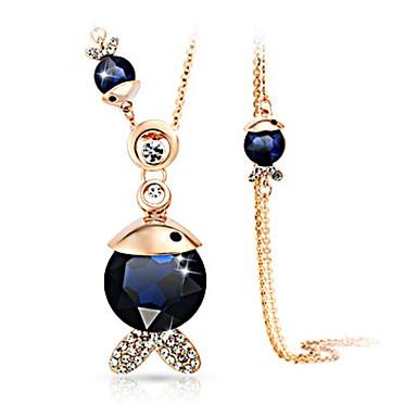 abordables Collier-Collier Pendentif Femme Cristal Cristal Imitation Diamant Poissons dames Classique Mode Bleu de minuit gris foncé Colliers Tendance Bijoux 1 pour Quotidien