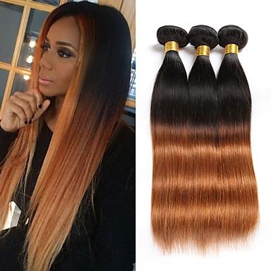 3 חבילות שיער ברזיאלי ישר שיער בתולי Ombre Ombre שוזרת שיער אנושי תוספות שיער אדם