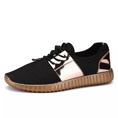 Miesten kengät PU Kevät Syksy Tasapohjakengät varten Kausaliteetti Musta Hopea/musta Musta ja kulta