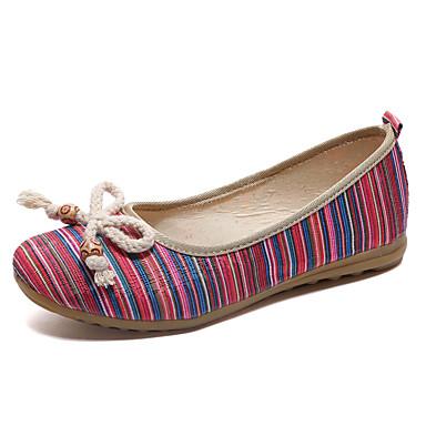 בגדי ריקוד נשים בד אביב נוחות נעליים ללא שרוכים שטוח בוהן עגולה אדום / ירוק / כחול
