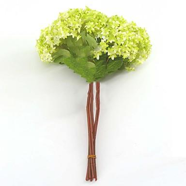 פרחים מלאכותיים 3 ענף פסטורלי סגנון הורטנזיות פרחים לשולחן
