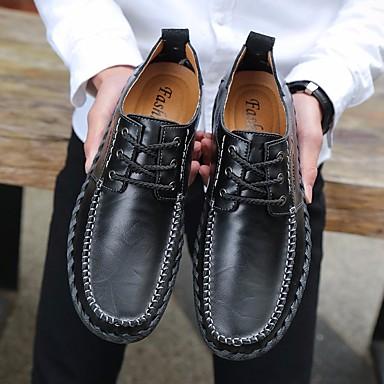 בגדי ריקוד גברים נעליים עור אביב / סתיו נוחות נעלי אוקספורד שחור / חום / חום כהה
