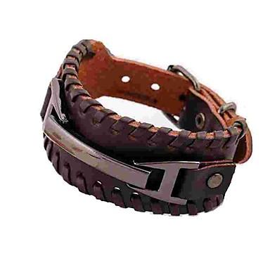 baratos Bangle-Homens Bracelete Pulseiras de couro Simples Rock Pele Pulseira de jóias Preto / Marron Para Diário