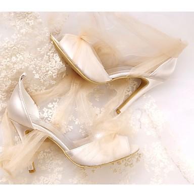 mariage Femme Bout Escarpin Chaussures Aiguille Evénement Mariage 06532694 Soirée Eté ouvert de Printemps Chaussures Soie Drapée Talon Basique Champagne amp; BwBnP8x