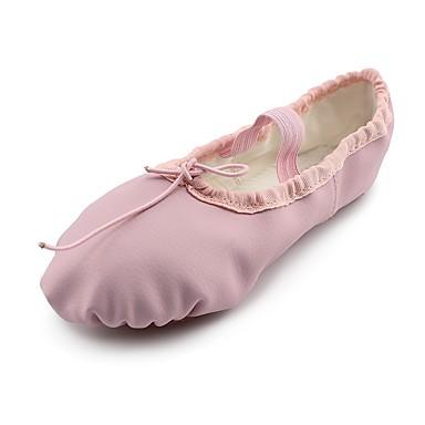 נעלי בלט דמוי עור שטוחות שטוח מותאם אישית נעלי ריקוד ורוד