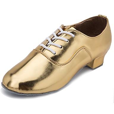 נעליים לטיניות עור פטנט עקבים עקב קובני מותאם אישית נעלי ריקוד זהב