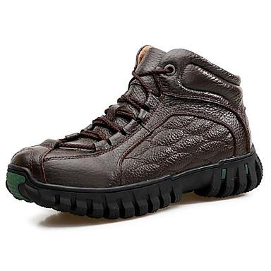 בגדי ריקוד גברים נעלי נוחות עור נאפה Leather / עור אביב / סתיו מגפיים מגפונים\מגף קרסול שחור / חום