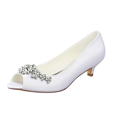 132bd300902 Women s Shoes Stretch Satin Spring   Summer Basic Pump Wedding Shoes Kitten  Heel Peep Toe Crystal White   Party   Evening