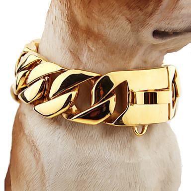 כלב קולרים בטיחות אחיד פלדת על חלד זהב