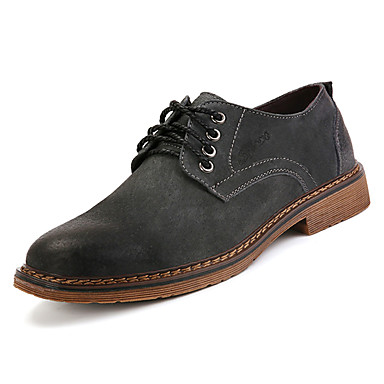 בגדי ריקוד גברים עור חזיר אביב / סתיו נוחות נעלי אוקספורד שחור / אפור / חום