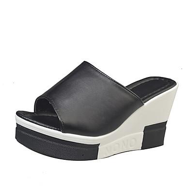 Women's Shoes PU Summer Light Soles Slippers & Flip-Flops Walking Shoes Wedge Heel Open Toe Split Joint for Casual White Black