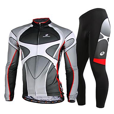 Nuckily Herrn Langarm Fahrradtrikots mit Fahrradhosen - Grau Fahhrad Kleidungs-Sets, Rasche Trocknung, UV-resistant, Atmungsaktiv,