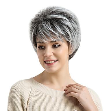 פאות סינתטיות בגדי ריקוד נשים ישר שחור עם פוני שיער סינטטי שיער אומבר / חלק צד שחור / לבן פאה קצר ללא מכסה אפור MAYSU
