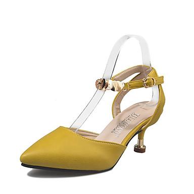 Damen Schuhe PU Frühling Sommer Komfort Pumps Sandalen Niedriger Heel Spitze Zehe Schnalle für Kleid Party & Festivität Beige Gelb
