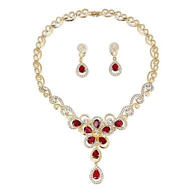 בגדי ריקוד נשים סט תכשיטים - ציפוי זהב אופנתי, אלגנטית לִכלוֹל סטי תכשיטי כלה אדום עבור חתונה / טקס