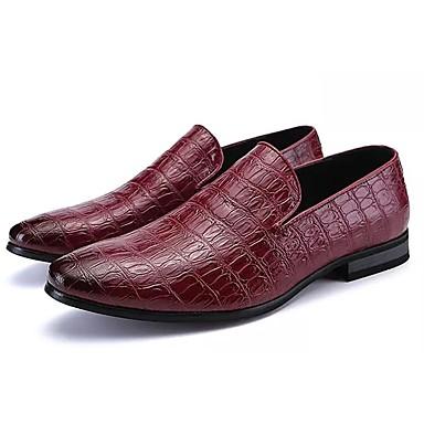 בגדי ריקוד גברים לבש נעליים PU אביב / סתיו נוחות נעליים ללא שרוכים שחור / אדום