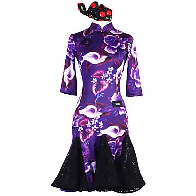 ריקוד לטיני שמלות בגדי ריקוד נשים הצגה Chinlon אלסטיין חוט נמתח תחרה דוגמא \ הדפס שרוול 4\3 טבעי שמלה