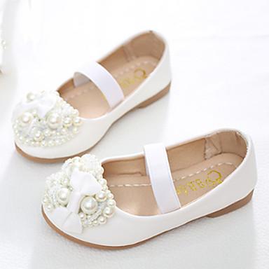 בנות נעליים PU אביב / סתיו נוחות / חדשני / נעליים לילדת הפרחים שטוחות פפיון / חרוזים / פנינים ל לבן / ורוד / מסיבה וערב