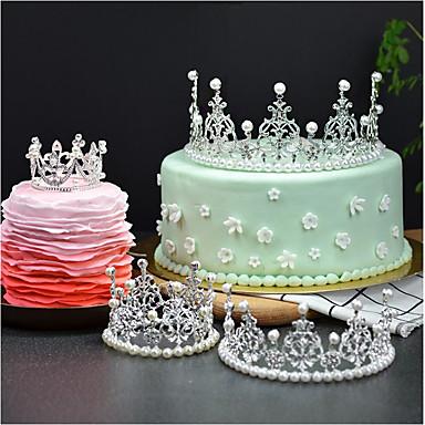 קישוטים לעוגה נושא אגדות רומנטיקה יומהולדת נסיכות סגנון חמוד סגסוגת חתונה יום הולדת עם ריינסטון 1 OPP