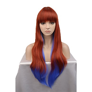 Synthetic Wig Women s Natural Wave Blue Synthetic Hair Blue Wig Long  Capless Orange   White   885bc438dd