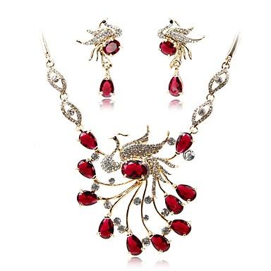 בגדי ריקוד נשים סט תכשיטים - ציפוי זהב אופנתי, אלגנטית לִכלוֹל סטי תכשיטי כלה אדום עבור חתונה / Party