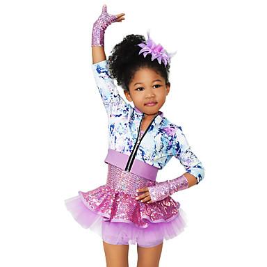 בגדי ריקוד לילדים תלבושות שלב ספנדקס אלסטי טול נצנצים Paillette פרח שרוול 4\3 גבוה עליון שמלה שרוולים לבוש ראש