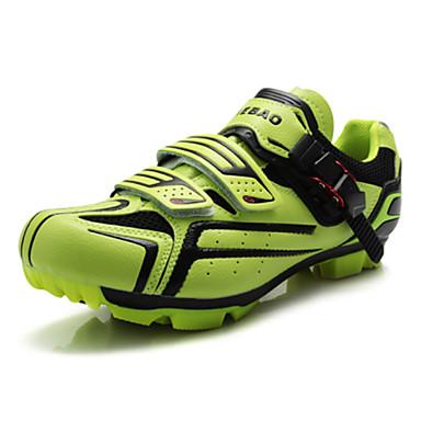 رخيصةأون أحذية ركوب الدراجة-Tiebao® Mountain Bike Shoes نايلون مقاوم للماء متنفس مكافح الانزلاق ركوب الدراجة أسود فضي أخضر رجالي أحذية الدراجة / توسيد / تهوية / ستوكات صناعية PU / توسيد / تهوية