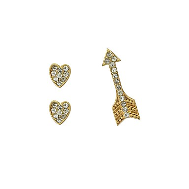 בגדי ריקוד נשים עגילים צמודים - לב פשוט, בסיסי זהב עבור יומי / פגישה (דייט)