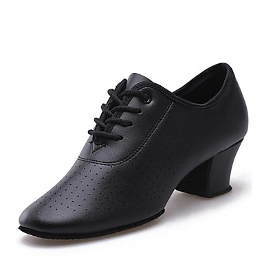 נעליים מודרניות מיקרופייבר PU סינתטי עקבים / סוליה חצויה עקב נמוך מותאם אישית נעלי ריקוד שחור / אדום