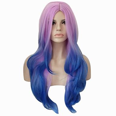 פאות סינתטיות מתולתל / Body Wave שיער סינטטי שיער אומבר / חלק אמצעי כחול / סגול פאה בגדי ריקוד נשים ללא מכסה